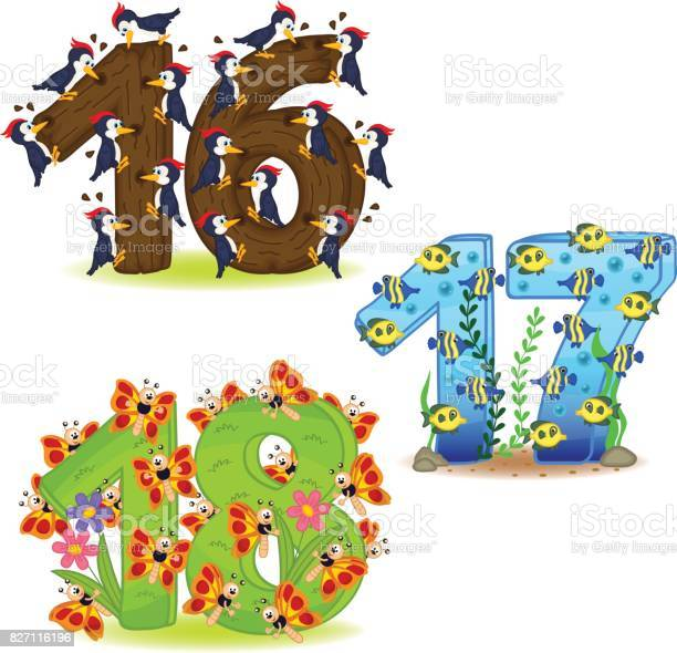 Set of numbers with number of animals from 16 to 18 vector id827116196?b=1&k=6&m=827116196&s=612x612&h=r6uer5eafhifba6bfyg9v1saj76ph vauhkumdhkc8k=