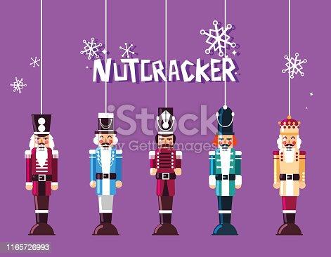 set of nutcracker toy hanging vector illustration design