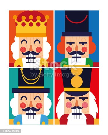 set of nutcracker toy isolated icon vector illustration design