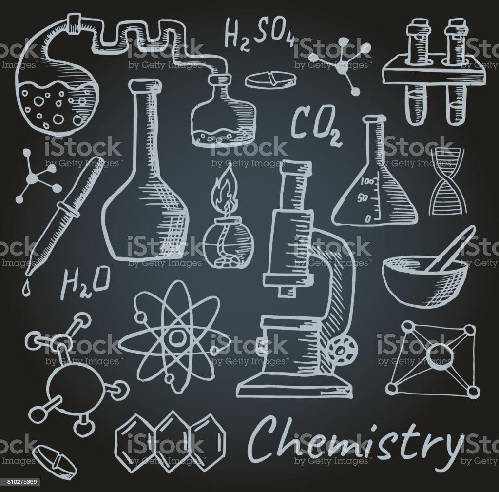 Conjunto de objetos, elementos y fórmulas químicas. Química - ilustración de arte vectorial