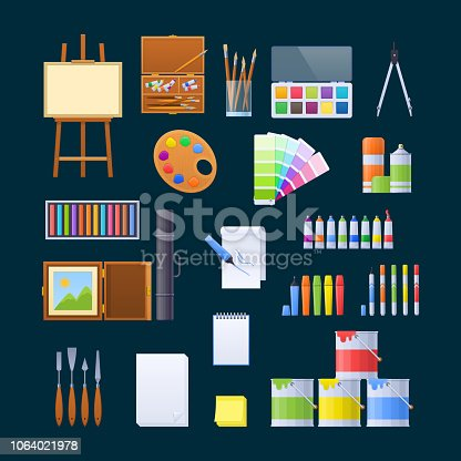 Set of objects for fine art, creation, artistic activity, sphere of designer. Wooden easel, canvas for drawing paintings, tubes, cans with paint, markers, accessories for artist. Vector illustration.