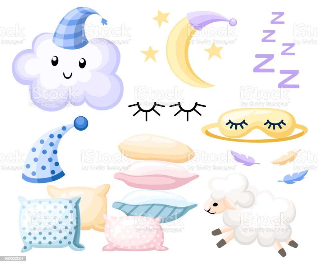 Set of objects for sleep cap for dream pillow different colors lamb cloud moon bandage for eyes on white background vector illustration web site page and mobile app design vector art illustration