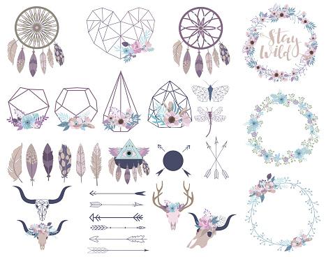 Set of objects in bohemian style. Flowers wreath, terrarium, arrows, skulls.