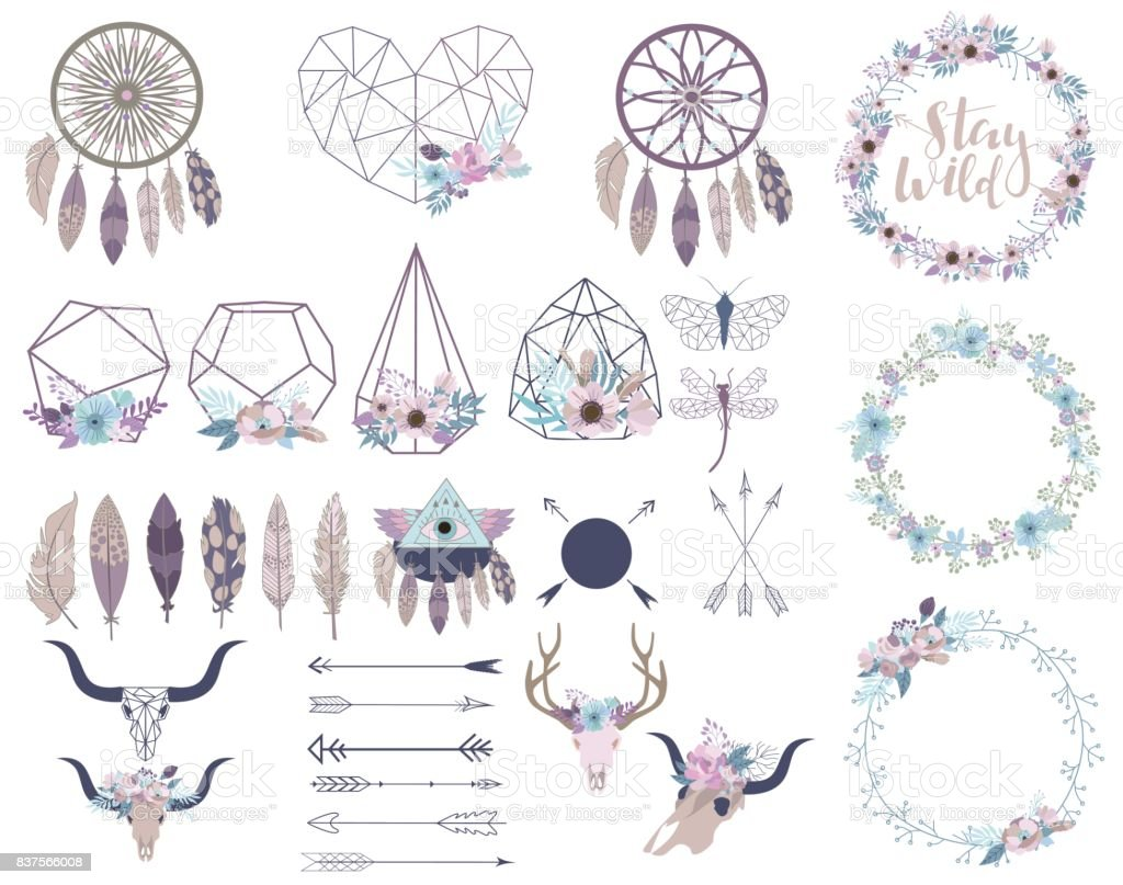 Set of objects in bohemian style. Flowers wreath, terrarium, arrows, skulls. vector art illustration