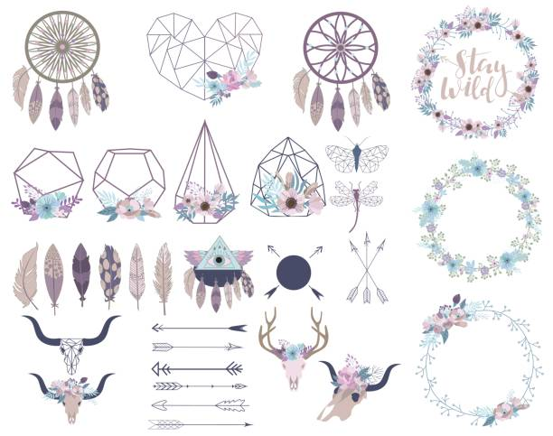 Set of objects in bohemian style. Flowers wreath, terrarium, arrows, skulls. Set of objects in bohemian style. Flowers wreath, terrarium, arrows, skulls.  Editable vector illustration dreamcatcher stock illustrations
