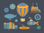 Set of objects steampunk