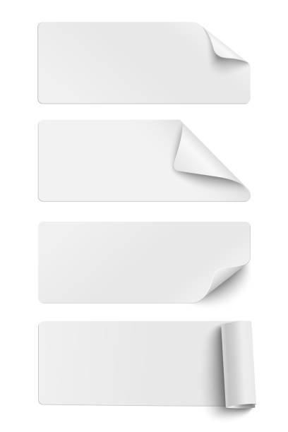 illustrazioni stock, clip art, cartoni animati e icone di tendenza di set of oblong white sticky paper pieces. one piece has rolled end and others have curled corners  with shadow isolated on white background - rotolo