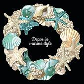 Set of ocean decor wreath on a black background