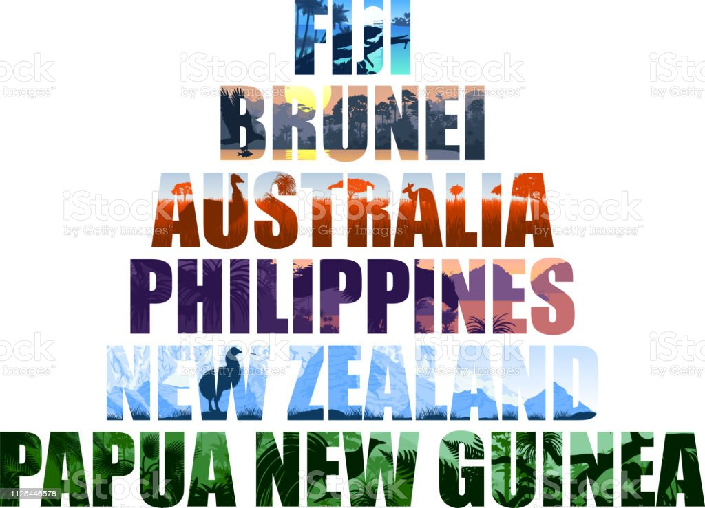 set of Oceania countries illustrations: Fiji, Brunei, Australia, Philippines, New Zealand, Papua New Guinea vector art illustration
