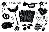 Set of Octoberfest Items October party symbols collection in black-and-white Illustration for Oktoberfest