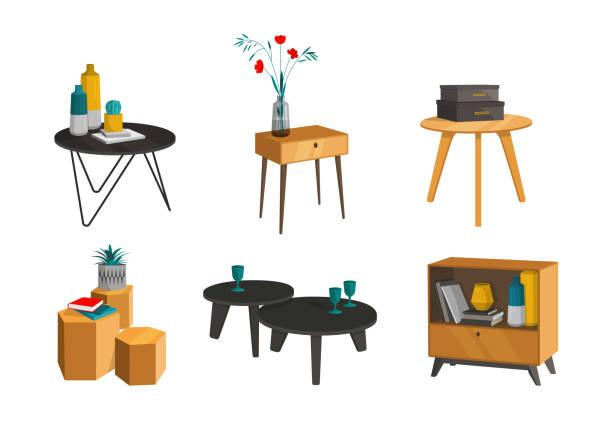 ilustrações de stock, clip art, desenhos animados e ícones de set of of coffee tables - coffee table