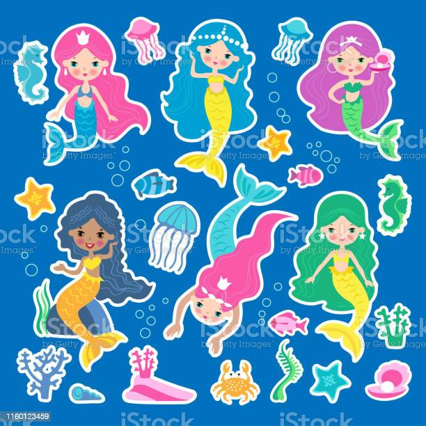 Set of of cute mermaid princess with colorful hair and other under vector id1160123459?b=1&k=6&m=1160123459&s=612x612&h=wxet2krk97lgamgenelx8nsh jtxssxqyfsbrjvggqs=