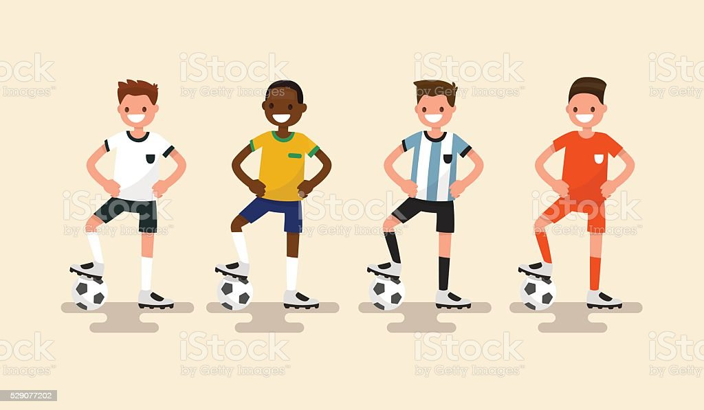 Set of of football players. Vector illustration vector art illustration