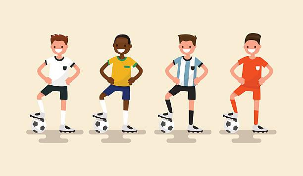 Conjunto de los jugadores de fútbol. Ilustración vectorial - ilustración de arte vectorial