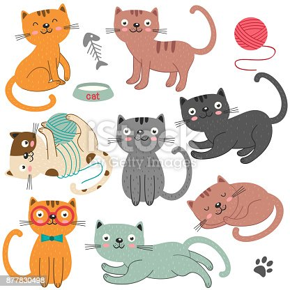 istock set of of isolated cats character 877830498