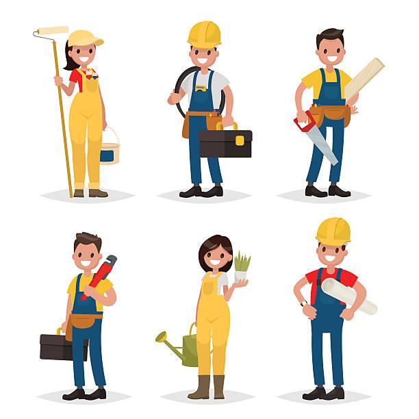 ilustraciones, imágenes clip art, dibujos animados e iconos de stock de set of of working professions. painter, electrician, carpenter, - obrero de la construcción