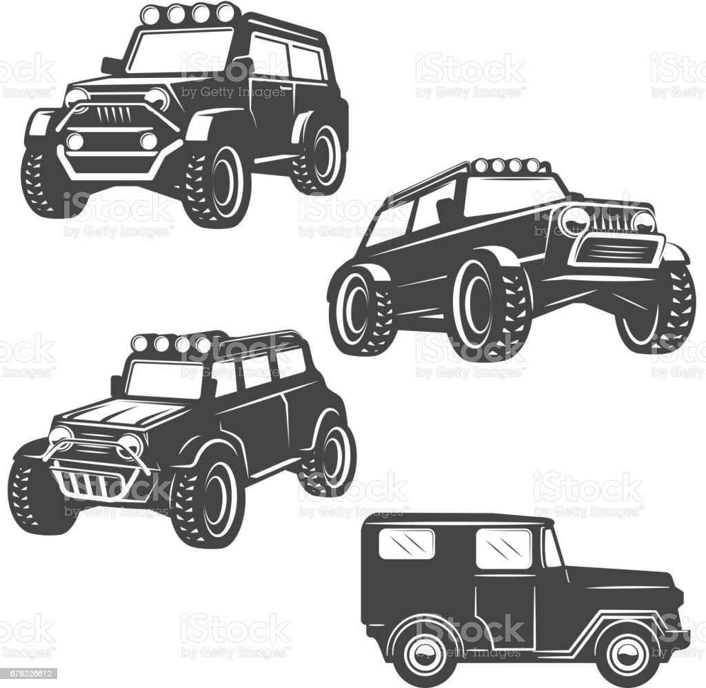 set of off road cars icons isolated on white background. Images for label, emblem. Vector illustration. vector art illustration