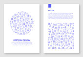 Set of Office and Workspace Icons Vector Pattern Design for Brochure,Annual Report,Book Cover.