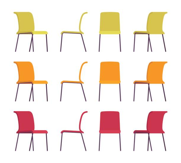 ilustrações de stock, clip art, desenhos animados e ícones de set of office chairs in differnt colors - chair