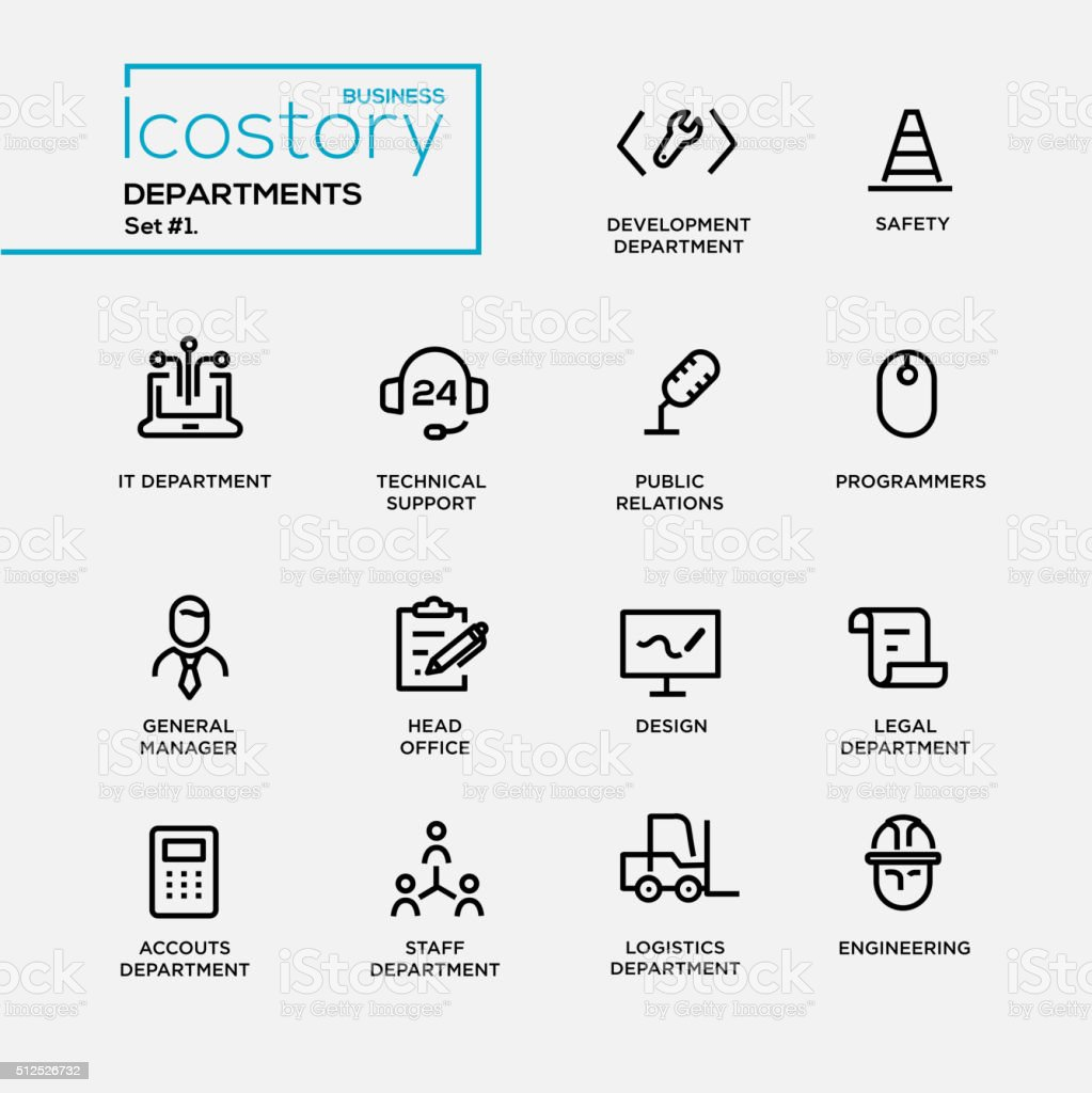 set of office departments line flat design icons and