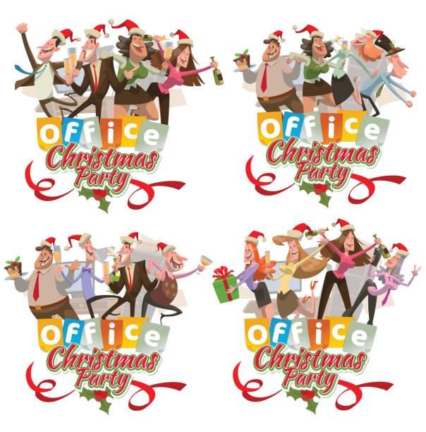 """satz von büro vier embleme """"weihnachtsfeier"""", männer und frauen - firmenweihnachtsfeier stock-grafiken, -clipart, -cartoons und -symbole"""