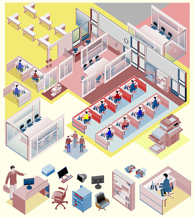 set of office isometric vector. workstation, people, manager, sales