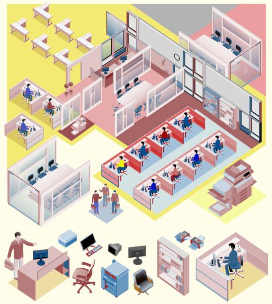 stockillustraties, clipart, cartoons en iconen met set of office isometric vector. workstation, people, manager, sales - hoek beschrijvende begrippen