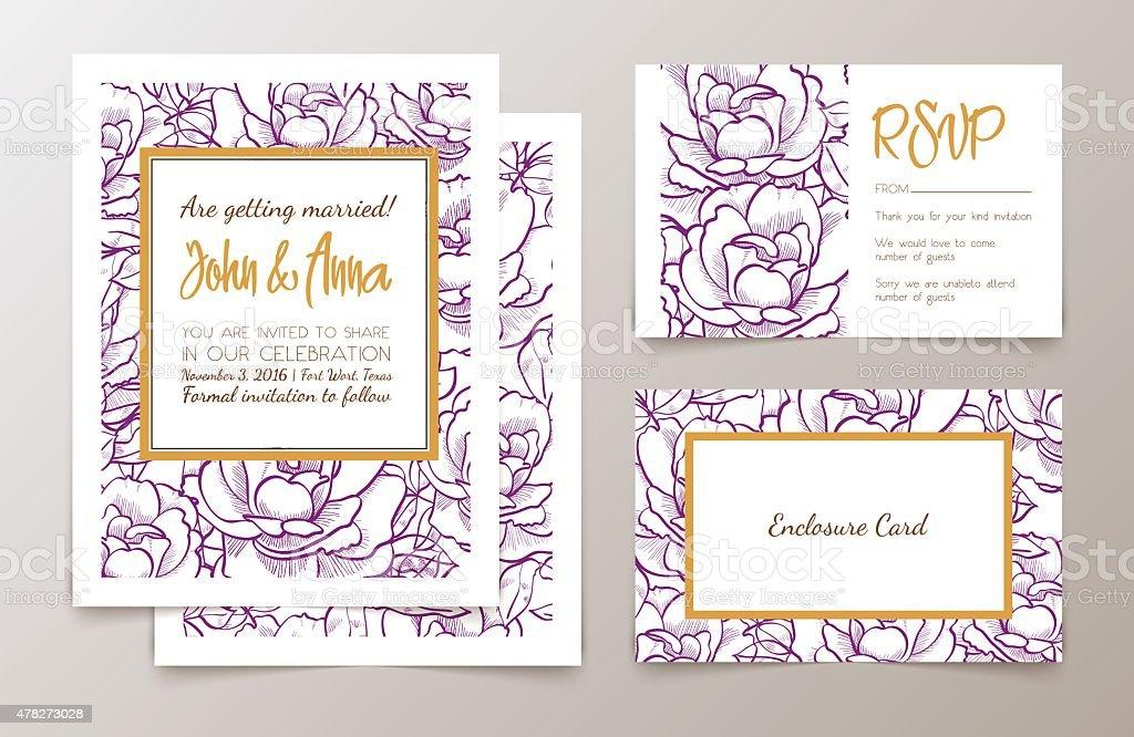 Set of office supplies for weddings  invitation, vector art illustration
