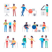 Set of office workers characters. Flat design corporate business people. Full length. Different poses and situations. Vector illustration.