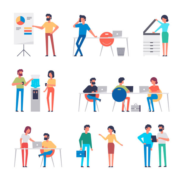set of office workers characters. flat design corporate business people. full length. different poses and situations. vector illustration. - office job stock illustrations, clip art, cartoons, & icons