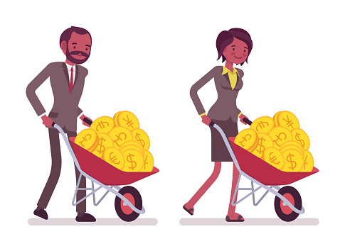 Set of office workers pushing a wheelbarrow with golden coins