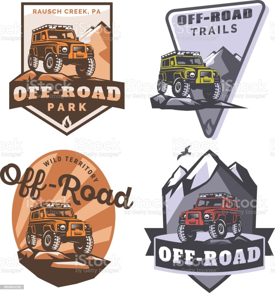 Set Of Offroad Suv Car Monochrome Logo Emblems And Badges Isolated
