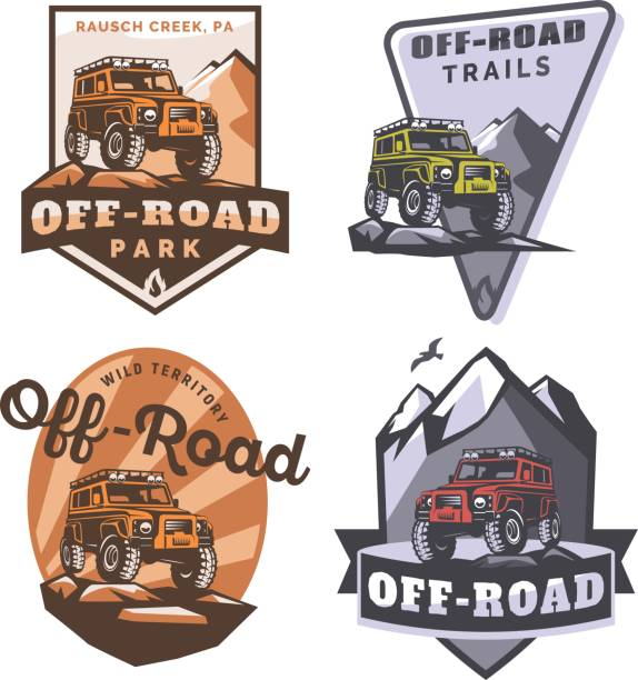 Set of off-road suv car monochrome logo, emblems and badges isolated on white background. Rock crawler car in mountains. Off-roading trip emblems, 4x4 extreme club emblems. vector art illustration