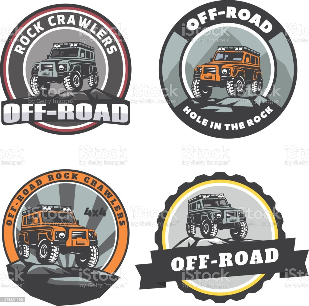 Set of off-road suv car round logo, emblems and badges. vector art illustration