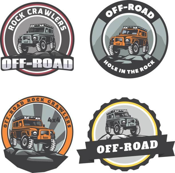 Set of off-road suv car round logo, emblems and badges. vector art illustration