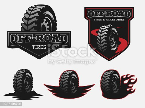 Set of off-road tires service emblems and badges.