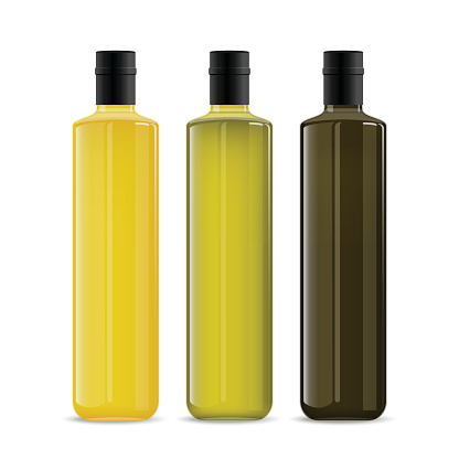 Set of oil or wine glass bottles isolated on white background. The collection of three narrow and high bottles. Yellow, green and black realistic mockups. Vector template for product design.