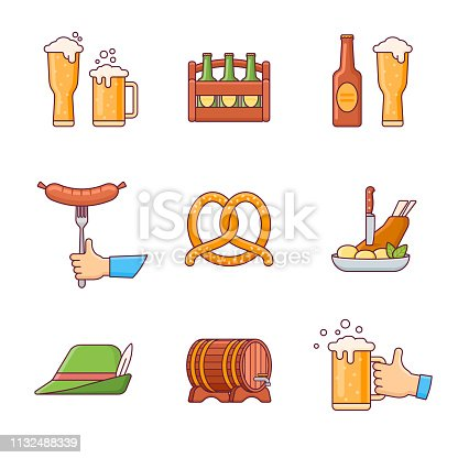 Set of Oktoberfest beer festival flat line icons isolated on white background. Vector illustration.