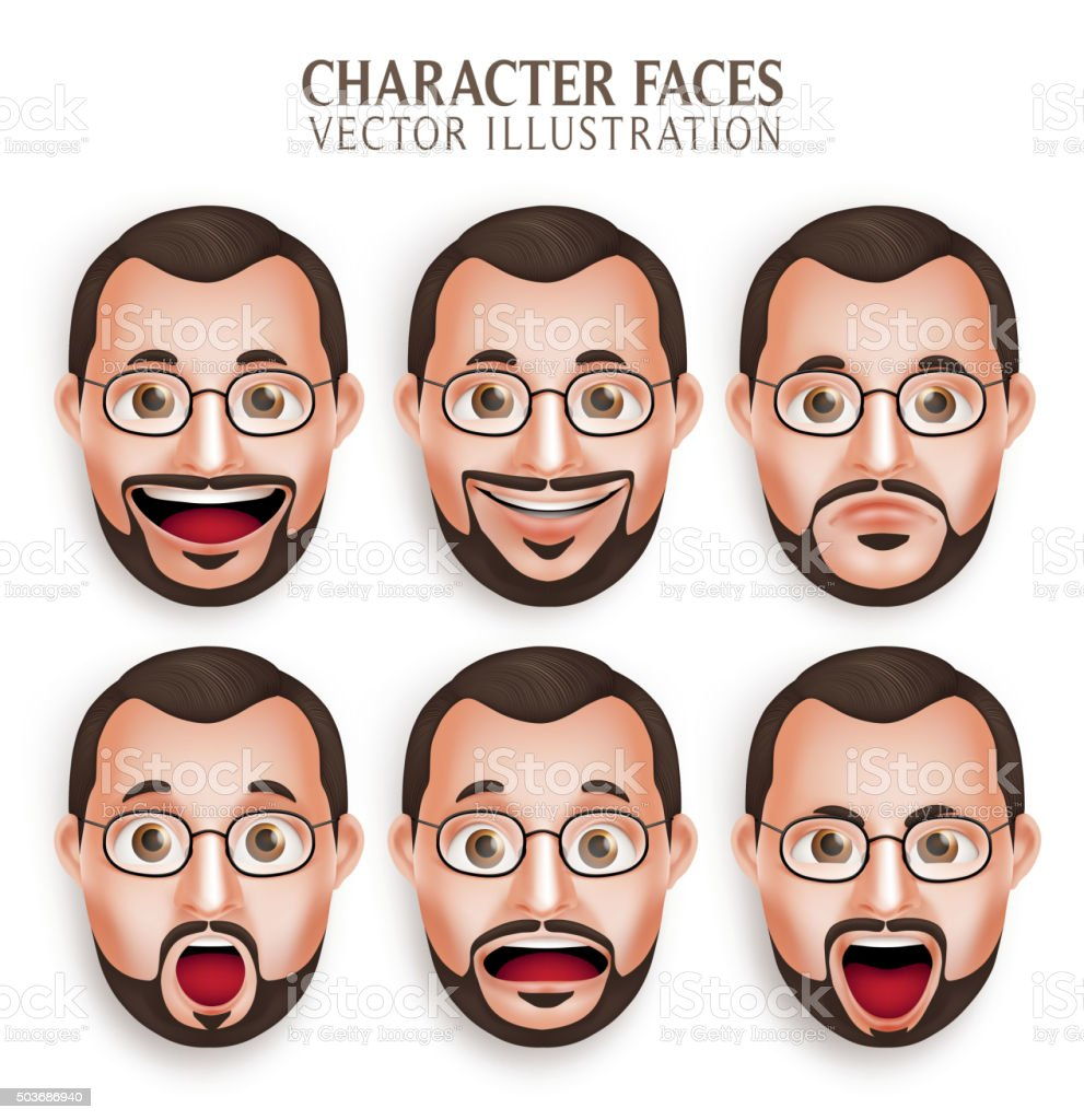 Set of Old Beard Man Head with Different Facial Expression vector art illustration