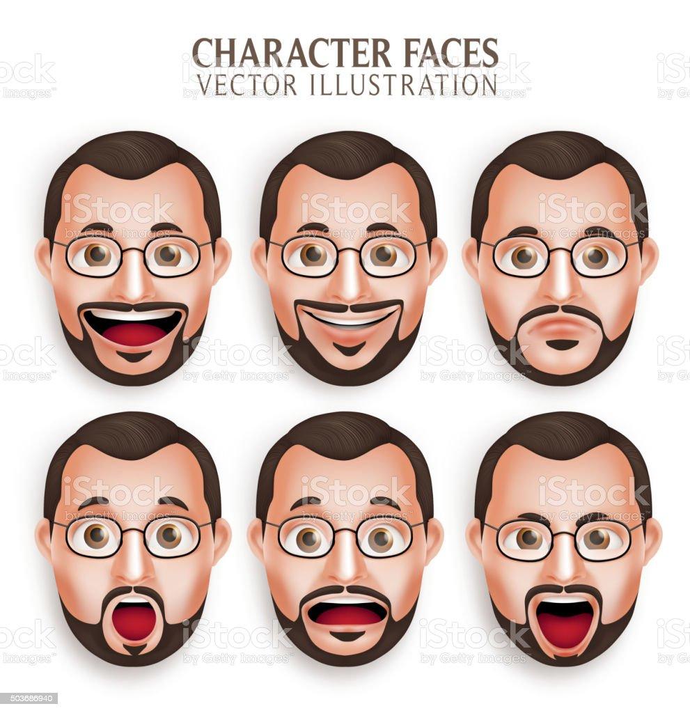 Set of Old Beard Man Head with Different Facial Expression vektör sanat illüstrasyonu