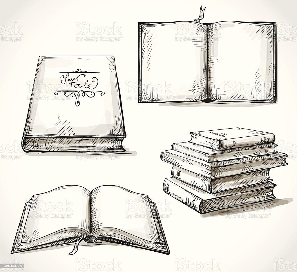 Ensemble De Vieux Livre Dessins Vecteurs Libres De Droits Et