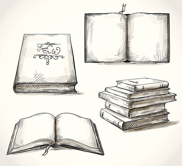 Set Of Old Books Drawings Vector Art Illustration