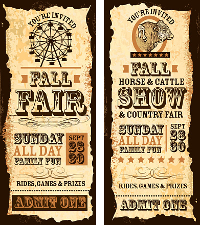Set of old fashioned Fall fair and show tickets template