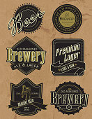 Vector illustration of a set of vintage retro revival beer labels. Labels read: Distilled Draught Beer Domestic and Imported, Whisky Vintage Brewery Distilled and Aged in Wood, Old Fashioned Brewery Ale and Lager, Premium Lager Light and Dark, Fine Filtered Draught Beer, Old Fashioned Brewery. Download includes Illustrator 8 eps, high resolution jpg and png file.