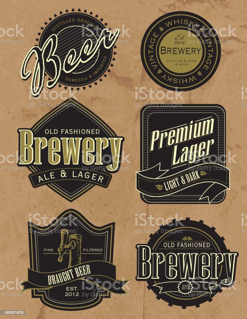 Set of old fashioned retro beer labels vector art illustration