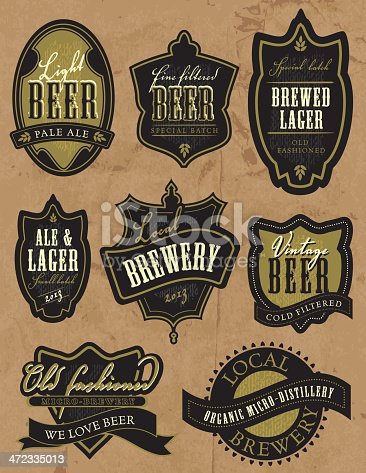Vector illustration of a set of vintage retro revival beer labels. Labels read: Light Beer Pale Ale, Fine Filtered Beer Special Batch, Special Batch Brewed Lager Old Fashioned, Ale & Lager Small Batch 2013, Local Brewery 2013, Vintage Beer Cold Filtered, Old Fashioned Micro-Brewery We Love Beer, Local Organic Micro-Distillery Brewery. Some texture. Download includes Illustrator 8 eps, high resolution jpg and png file.
