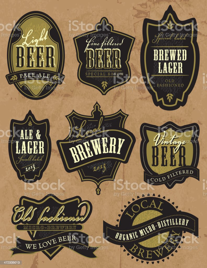 Set of old fashioned vintage styled beer labels vector art illustration