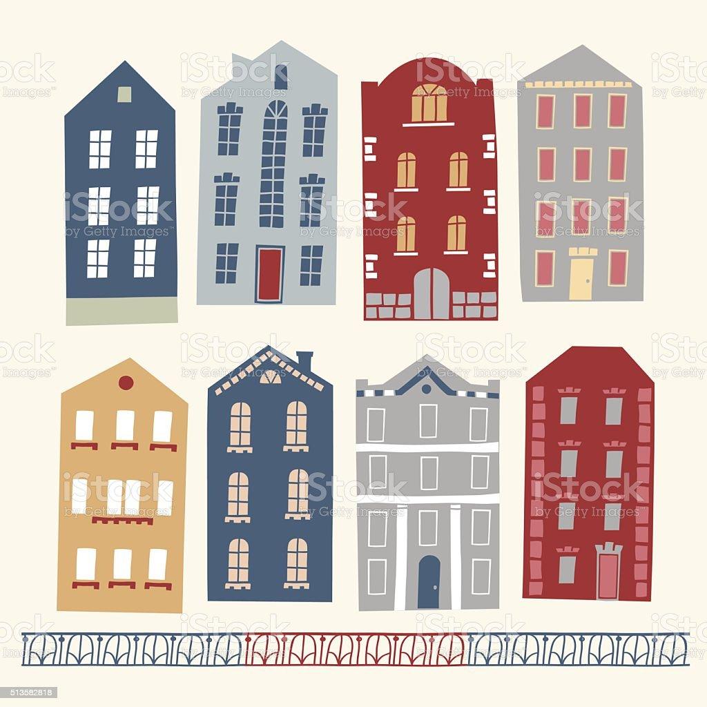 ilustração de conjunto de mão velha desenho casas coloridas e mais
