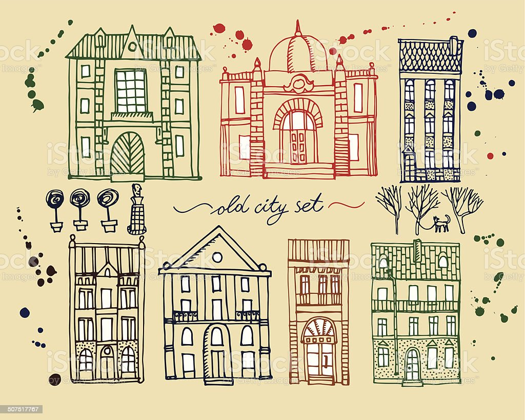 Set Of Old Hand Drawn Vintage Houses Royalty Free