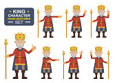 Set of old king characters showing different hand gestures. Cheerful king showing thumb up gesture, waving, greeting, pointing, this way, victory hand